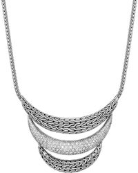 "John Hardy - Sterling Silver Classic Chain Pavé Diamond Arch Necklace, 16"" - Lyst"