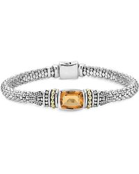 Lagos - 18k Gold And Sterling Silver Caviar Colour Bracelet With Citrine - Lyst