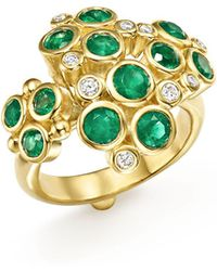 Temple St. Clair | 18k Yellow Gold Emerald And Diamond Cluster Trio Ring | Lyst