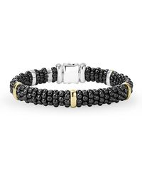 Lagos - Black Caviar Ceramic Bracelet With 18k Gold Stations - Lyst