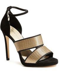 23fb36196d3 Karen Millen - Women s Open Toe Gold-tone Strap High-heel Sandals - Lyst