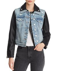 Blank NYC - Denim & Faux Leather Jacket - Lyst