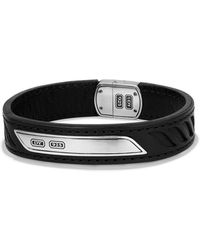 David Yurman - Graphic Cable Leather Id Bracelet In Black - Lyst