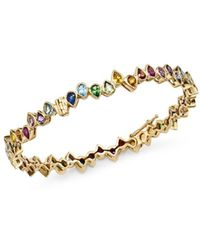 Shebee - 14k Yellow Gold Multicolor Sapphire Teardrop Bangle Bracelet - Lyst