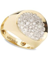 Antonini | 18k Yellow Gold Matera Small Pavé Silvermist Diamond Ring | Lyst