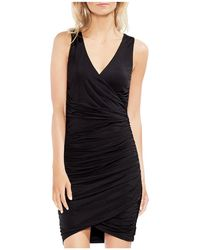 Vince Camuto - Ruched Faux-wrap Dress - Lyst