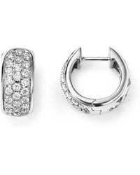 Bloomingdale's - Diamond Huggie Hoop Earrings In 14k White Gold, .45 Ct. T.w. - Lyst