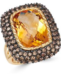 Bloomingdale's - Citrine & Brown Diamond Statement Ring In 14k Yellow Gold - Lyst