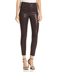 Joe's Jeans - Charlie Coated Ankle Skinny Jeans In Aubergine - Lyst