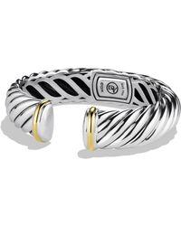David Yurman - Sterling Silver 18k Yellow Gold Cable Bracelet - Lyst