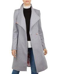 5eda3bd2124961 Lyst - Ted Baker Short Wrap Cashmere-blend Coat in Pink
