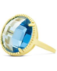 Freida Rothman - Imperial Blue Single Stone Cocktail Ring In 14k Gold - Plated Sterling Silver - Lyst