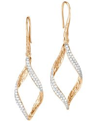 John Hardy - 18k Yellow Gold Classic Chain Pavé Diamond Twisted Wave Drop Earrings - Lyst