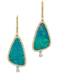 Meira T - 14k White & Yellow Gold Opal & Diamond Drop Earrings - Lyst