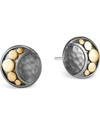 John Hardy - Sterling Silver & 18k Bonded Gold Dot Hammered Moon Stud Earrings - Lyst