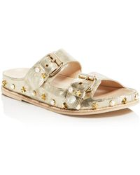 Stuart Weitzman - Women's Sandbar Embellished Leather Sandals - Lyst