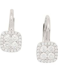 Frederic Sage | 18k White Gold Diamond Firenze Small Cushion Polished Bale Earrings | Lyst