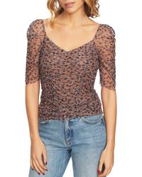 1.STATE - Ditsy Drift Ruched Top - Lyst