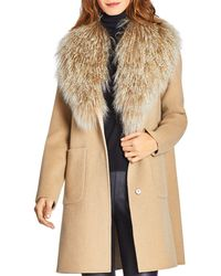 Dawn Levy Cece Reversible Mongolian Sheep Shearling Trim Coat