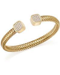 Roberto Coin - 18k Yellow Gold Primavera Diamond Capped Cuff - Lyst