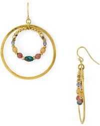 Chan Luu - Mixed-stone Double Frontal Hoop Earrings In Gold Tone-plated Sterling Silver - Lyst