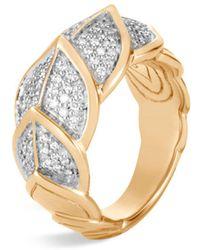John Hardy - 18k Yellow Gold Legends Naga Pavé Diamond Small Ring - Lyst