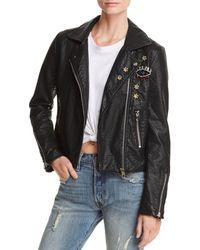 Aqua - Embellished Faux Leather Moto Jacket - Lyst