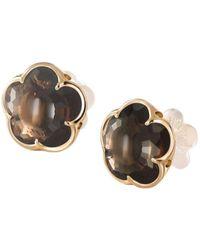 Pasquale Bruni - 18k Rose Gold Smoky Quartz Floral Stud Earrings - Lyst