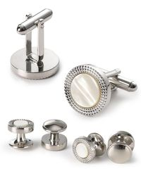 Bloomingdale's - Decorative Circle Stud And Cufflink Set - Lyst