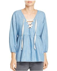 Joie | Bealette Lace-up Chambray Top | Lyst
