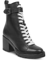 Marc Fisher - Women's Waren Round Toe Lace Up Leather Boots - Lyst