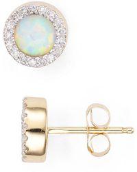 Adina Reyter - Opal & Diamond Disc Stud Earrings - Lyst