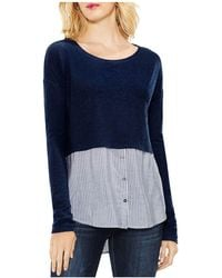 Vince Camuto - Mixed Media Stripe Shirttail Top - Lyst