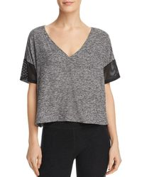 Beyond Yoga - Mesh-inset Cropped Tee - Lyst