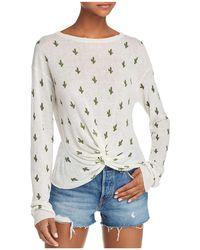 Aqua - Cactus Print Twist-front Sweater - Lyst