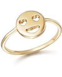 Bing Bang - 14k Yellow Gold Heart Eyes Emoji Ring - Lyst
