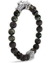 John Hardy - Men's Sterling Silver Legends Naga Black Volcanic Rock Beaded Bracelet With Sapphire Eyes - Lyst
