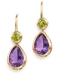 Bloomingdale's - Amethyst And Peridot Drop Earrings In 14k Yellow Gold - Lyst