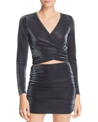 Aqua - Metallic Crossover Cropped Top - Lyst