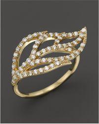 KC Designs - Diamond Leaf Ring In 14k Yellow Gold - Lyst