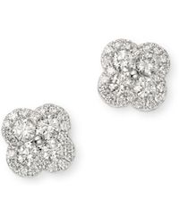 Bloomingdale's Diamond Clover Stud Earrings In 14k White Gold