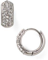 Nadri - Tiny Pavé Huggie Hoop Earrings - Lyst