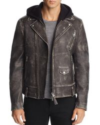 Mackage - Magnus Hooded Leather Motorcycle Jacket - Lyst