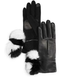 Echo - Color-block Rabbit Fur Pom-pom Tech Gloves - Lyst