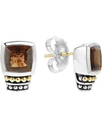 Lagos - 18k Gold And Sterling Silver Caviar Color Smoky Quartz Stud Earrings - Lyst