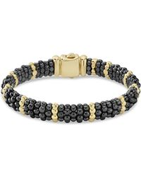 Lagos - Gold & Black Caviar Collection 18k Gold & Ceramic Beaded Ten Station Bracelet - Lyst
