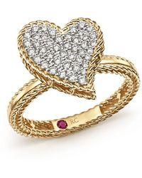 Roberto Coin - 18k Yellow Gold Tiny Treasures Diamond Heart Ring - Lyst
