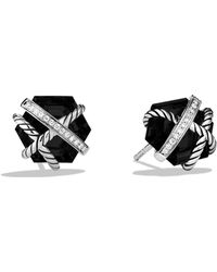 David Yurman - Cable Wrap Earrings With Black Onyx And Diamonds - Lyst