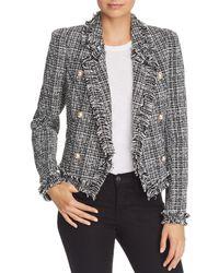 Aqua - Double-breasted Tweed Jacket - Lyst