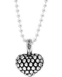Lagos - Sterling Silver Beaded Heart Pendant Necklace - Lyst